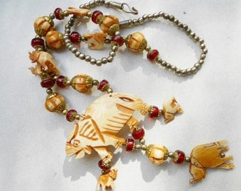 Vintage necklace  Bone elephants necklace  India red glass silver and brass Free USA Shipping
