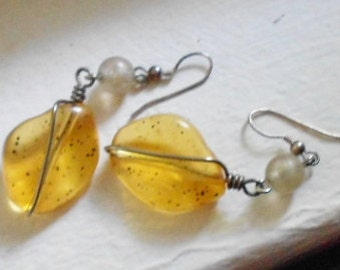 Vintage pierced earrings, pierced silver and chunky acrylic Amber