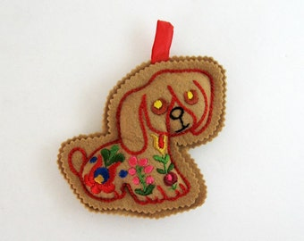 Vintage Felt Ornament - Embroidered Folk Art Dog Lover Gift - Scandinavian Style Decor - Holiday Ornament Staffordshire Dog Tree Decoration