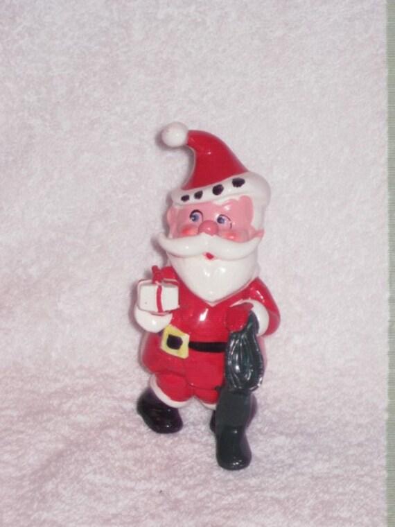 Vintage christmas santa claus stocking figurine ornament