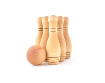 Wooden Bowling Game - 6 Pin Natural Skittles Set - Montessori Wood Toy - Eco-Friendly Gift for Toddler or Preschooler - Baby First Birthday