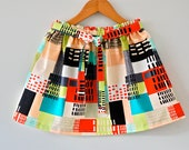 Little girl's gathered skirt in graphic city print // comes with matching sash belt (Size 4T/5T)