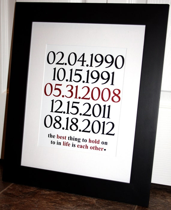 Etsy Wedding Gifts: Items Similar To Important Dates Wedding Gift. Anniversary