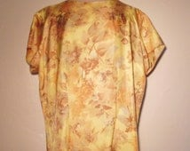 1950s tricel autumn leaves blouse