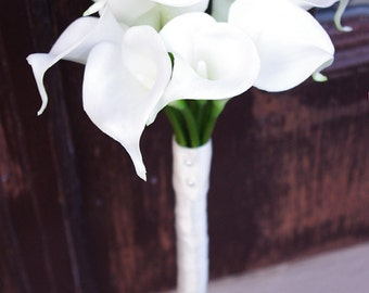 Silk Wedding Bouquet with Calla Lilies - Natural Touch Off White Callas Silk Bridal Flowers