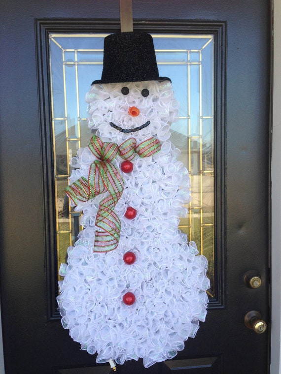 Christmas Deco Mesh Snowman Wreath