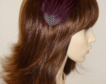 Wine Burgundy Maroon Fascinator HAIR CLIP Bridesmaids Hair Accessory Handmade Black White Wedding Headpiece 'Gwen'