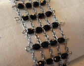 Black and silver beaded chain bracelet