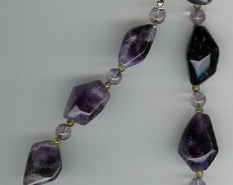 Amethyst, Peridot, Sterling Silver Necklace