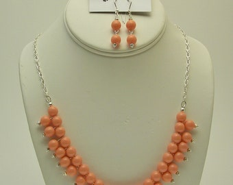 Vintage Glass Pearl Necklace & Earring Set