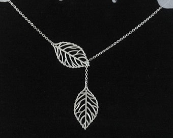leaf lariat necklace , twin leaf necklace , double leaf lariat necklace , two leaf necklace , sterling silver leaf necklace