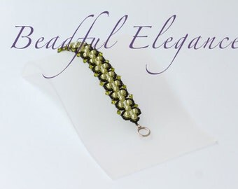 Dimensional Beading Olive Green Paris Woven Beaded Bracelet Accessory Accent