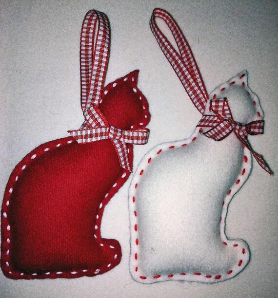 Items similar to cat felt christmas ornament set of 2 on for Cat christmas ornaments craft