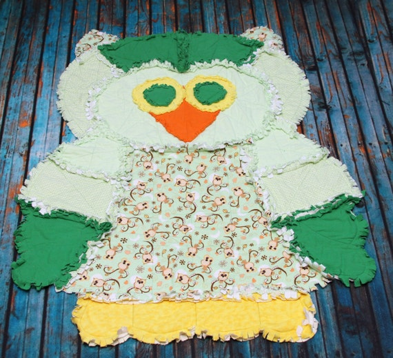 Rag Quilt Owl Pattern : Ollie the Owl Rag Quilt RTS Christmas in July Sale Price
