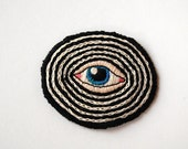 "Hypno - Blue Eye on Black and White - Hand Embroidered 2.5"" Patch"