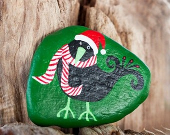 Hand Painted Christmas Crow on Beach Rock