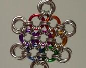 HOLD FOR JOAN--Rainbow Japanese snowflake pendant