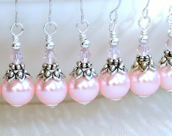 Bridesmaids Jewelry Set Of 3 Bridesmaids Earrings Light Pink Glass Pearls And Silver Earrings