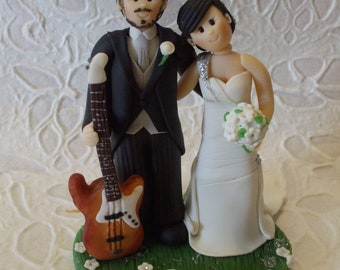 Personalized bride and groom with guitar wedding cake topper