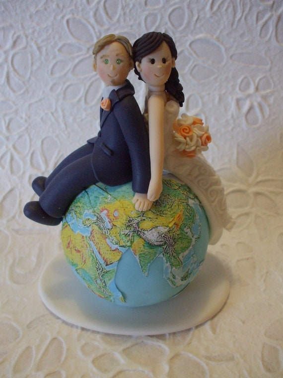 customizable wedding cake toppers custom and groom travel wedding cake topper 3258