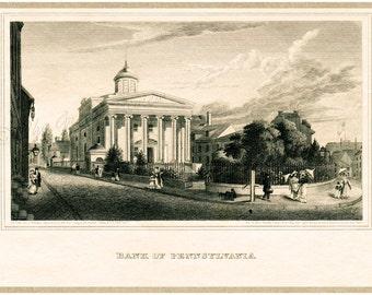 Antique Philadelphia Print - Bank of Pennsylvania