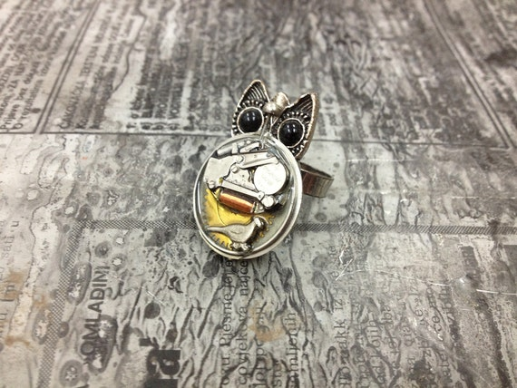 OWL Steampunk jewelry ring