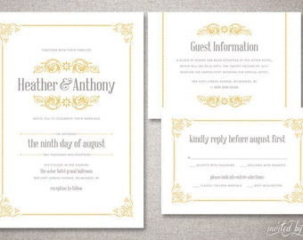 "Vintage ""Heather"" Wedding Invitation Suite - Victorian Classic Traditional Elegant Ornate Invitations - Digital Printable / Printed Invite"