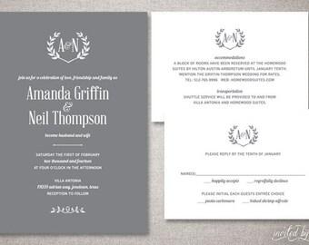 "Rustic Monogram ""Amanda"" Wedding Invitations Suite - Laurel Wreath Woodland Invite - Custom DIY Digital Printable or Printed Invitation"