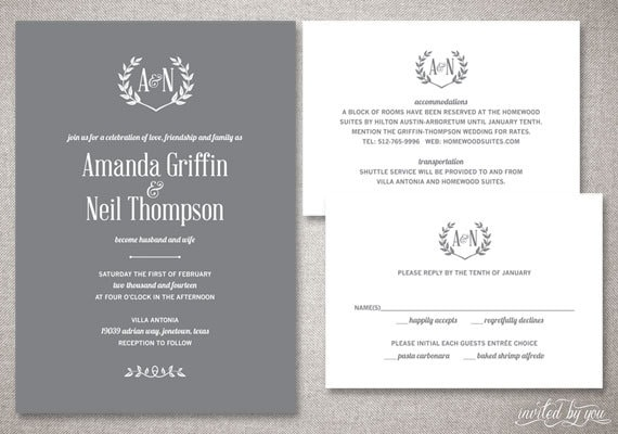 Initial Wedding Invitations: Rustic Monogram Amanda Wedding Invitations Suite