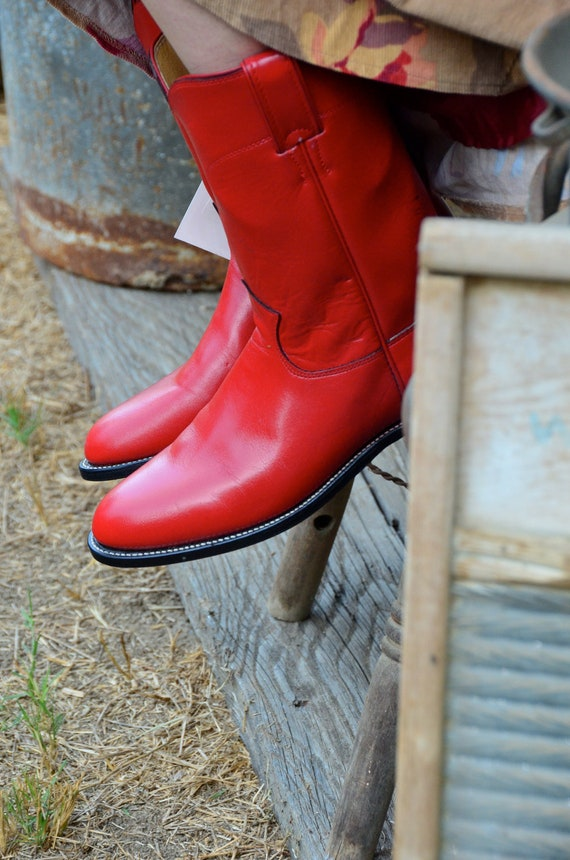 Women's 8 Vintage Red Justin Boots Original Roper Cowboy Cowgirl Style