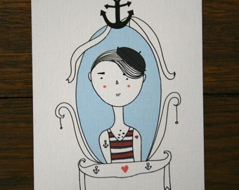 Tattoo postcards. Tattooed Sailor. Postcard .Set of 2 Cameo postcards