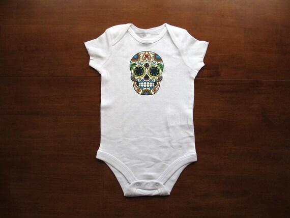 Baby Clothes Bodysuit Sugar Skull Happygoatdesigns