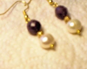 Georgeous Amethyst and Fresh Water Pearl Earrings