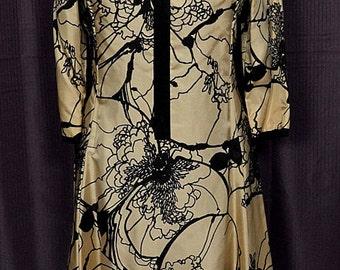 1960s Retro Taupe & Black Dress, Size 16, ILGWU