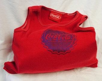 Upcycled Coca-Cola bag *repurposed,reusable tote,machine washable,shopping bag,grocery sack,coke,cotton,beach bag,green items,for her
