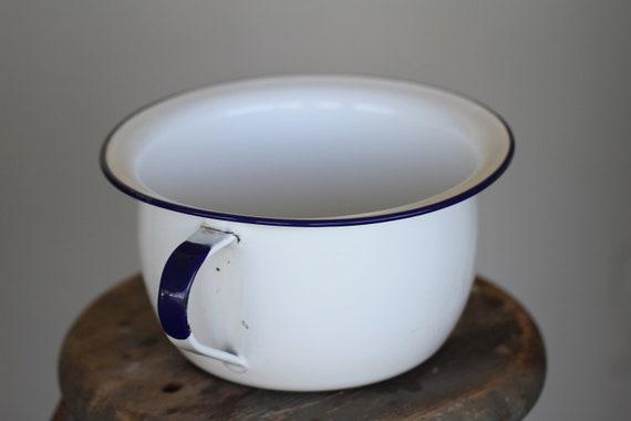Vintage Enamel Chamber Pot White With Blue Trim
