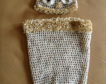 Handmade crochet owl cocoon and hat set for newborn