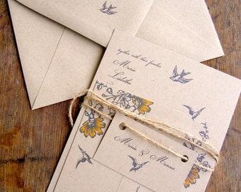 Sample Wedding Invitation, Simple Rustic Wedding Invitation, Vintage Wedding Invitation, Eco Friendly Wedding Invitation