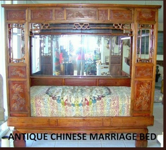 Antique Bed: Antique Chinese Marriage Opium Bed Mid-19th Century