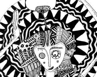 AYURVEDA, Modern wall decor, Black and white print, illustration.