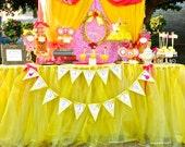 Sleeping Beauty - Yellow Tulle Skirting - Yellow - Tulle Skirt  - Girls Birthday Party - Aurora - Table Skirt - Poppysmic Bowtique