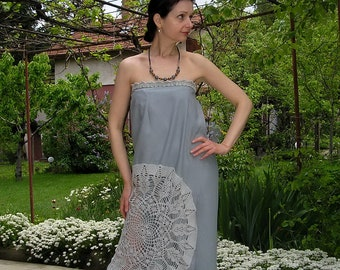 Artsy doily dress or skirt, Eco-friendly handmade clothing by EcoClo, size S-M