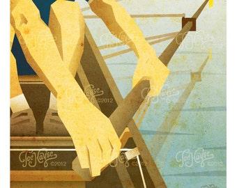 "DIGITAL DOWNLOAD Rowing Poster: ""Racers"""