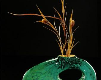 Hand blown art glass sculpture Bolinas in Jade Green