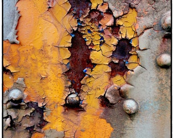 Rust Photography 8 x 10 Abstract Yellow Orange Urban Art Photo- Retired Dixie Trains