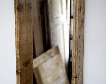 Mirror in recycled scaffold boards box frame