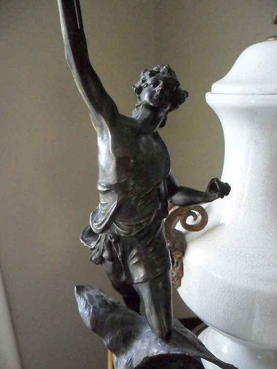 Antique Spelter Statue Holding Torch