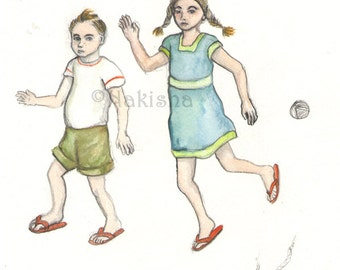 Boy and Girl - Original Watercolor and Pencil Illustration