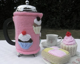 Hand knitted cafetiere hug with cupcake decoration