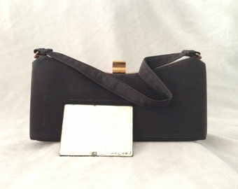 Vintage Black and Gold Evening Handbag Box Purse